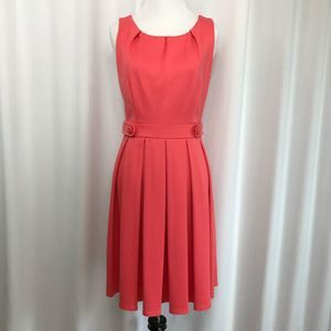 Elle coral pleated sleeveless dress